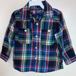 Chaps Long Sleeve Plaid Shirt, Red, Toddler 12 Mo